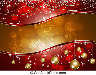 Xmas Celebration Background - red and gold holiday...