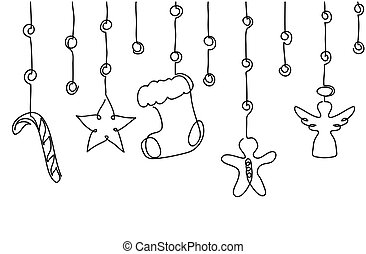 Xmas, Christmas decorative hanging border. Vector background, banner with candy cane, angel, star, sock, stock, gingerbread man. Xmas decor.