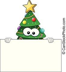 xmas christmas tree mascot character behind blank banner...