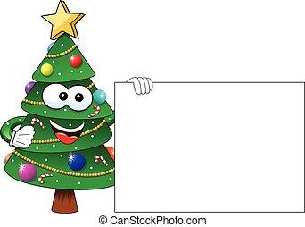 xmas christmas tree mascot character blank card isolated -...