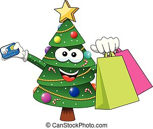 xmas christmas tree mascot character shopping bags sale credit card isolated