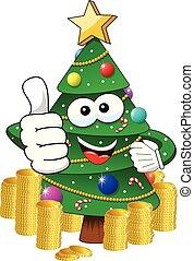 xmas christmas tree mascot character thumb up money richness isolated