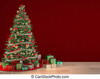 xmas - christmas tree with a red wall, 3d rendering