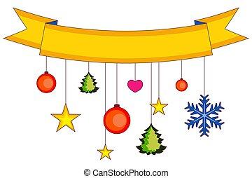 Xmas colorful poster, ribbon, snowflakes and stars.