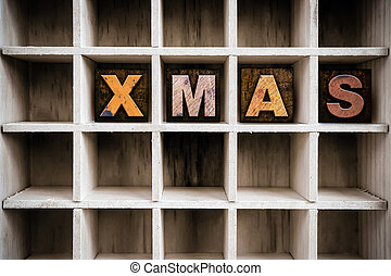 Xmas Concept Wooden Letterpress Type in Drawer