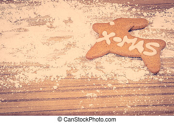 Xmas cookie on a kitchen table