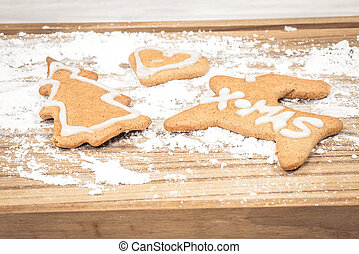 Xmas cookies on a wooden board