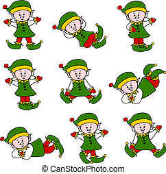 Xmas Cute Elf Set - Illustration of a cute cartoon elf with...