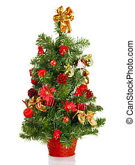 xmas decoration - Christmas tree with decorations, isolated...