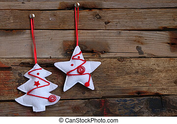 Xmas decoration - Photo of christmas decorations on wooden...