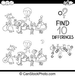 xmas difference game for coloring - Black and White Cartoon...