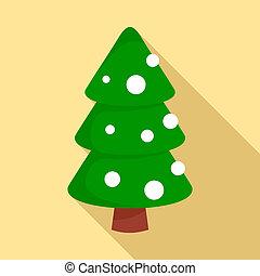 Xmas fir tree icon, flat style