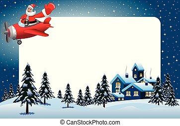Xmas frame featuring santa Claus flying on airplane at xmas...