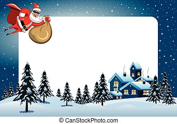 Xmas frame santa Claus superhero flying night snowy landscape