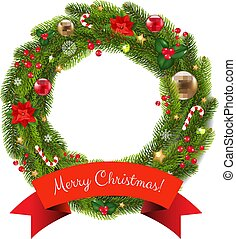 Xmas Fur Tree Wreath With Gradient Mesh, Vector Illustration