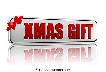 xmas gift banner with ribbon