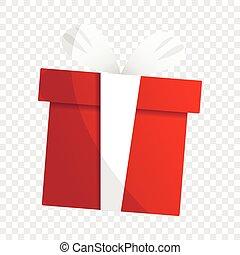Xmas gift box icon, cartoon style
