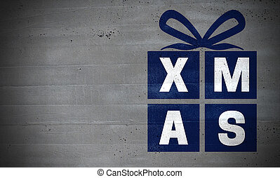 Xmas gift on concrete wall concept background