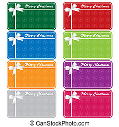 Christmas gift tags in 8 assorted colors with bows and snowflakes. Copy space for text. Isolated on white.