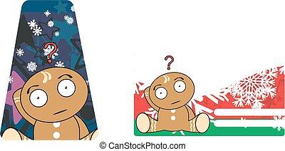 xmas, gingerbread, criança, cartoon8