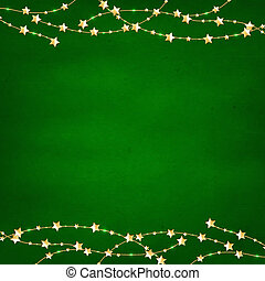 Xmas Green Retro Background With Gold Stars Garland