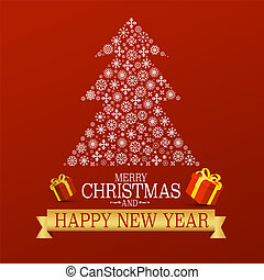 Xmas Greetong Card on Red Background with Snowflakes Tree. Merry Christmas and Happy New Year Vector Design.