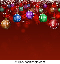 Xmas Holiday Balls Red Background