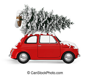 Xmas holiday travel. 3D rendering - Christmas tree on the...