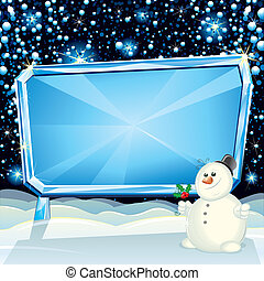 Cartoon Christmas Card with Frozen Billboard and Funny Snowman ready for greeting text
