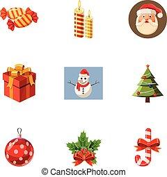 Xmas icons set, cartoon style