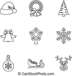 Xmas icons set, outline style
