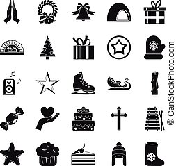 Xmas icons set, simple style