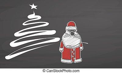 Xmas invitation with Santa on chalkboard