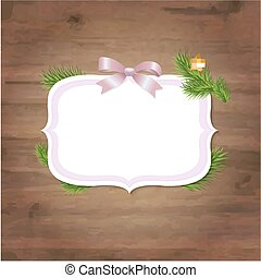 Xmas Label With Pink Ribbon And Wooden Background