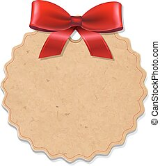Xmas Label With Red Bow