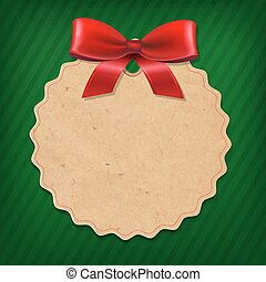 Xmas Label With Red Ribbon