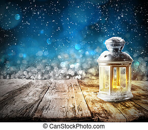 Xmas lantern light - Xmas decoration background with lantern...