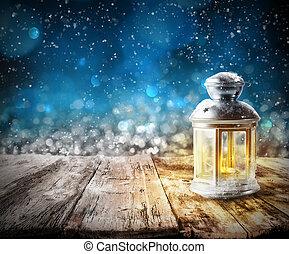 Xmas lantern light - Xmas decoration background with lantern...