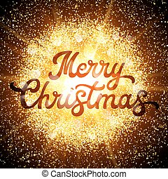 Xmas lettering on abstract explosion background with gold glittering elements. Dust firework light effect. Christmas decoration for seasons greeting cards design. Font vector illustration.