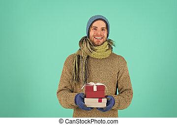 xmas., litet, shopping., vinter, year., magic., present., lov, ögonblick, box., erövrare, gåva, man, färsk, lycklig, morgon, jul, celebration., för