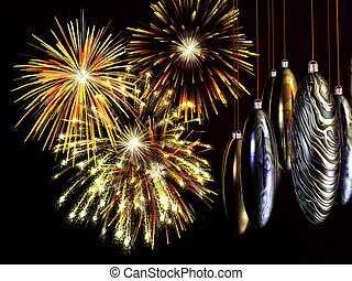 Xmas, new years card, fireworks with baubles on wire.