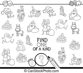 Xmas one of a kind game coloring book - Black and White...