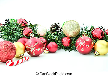 Xmas ornaments on white background with space for text, concept of winter holiday, merry christmas or new year greeting card