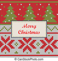 Xmas ornaments - seamless knitted background - Christmas...