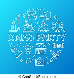 Xmas party blue round vector outline illustration