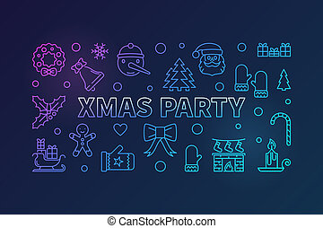 Xmas party colorful vector outline horizontal banner