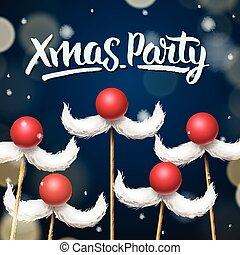 Xmas Party template, Santa moustache, vector illustration.