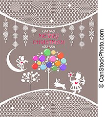 Xmas pastel greeting card with white paper cutting hanging girl angel and lacy decoration, Christmas tree with colorful balls, boy angel and funny little hare