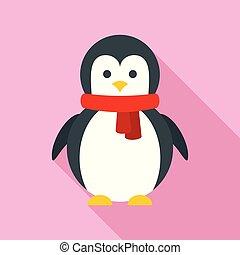 Xmas penguin icon, flat style