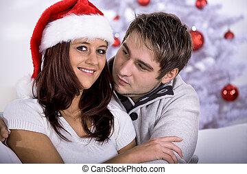 xmas portrait of a couple